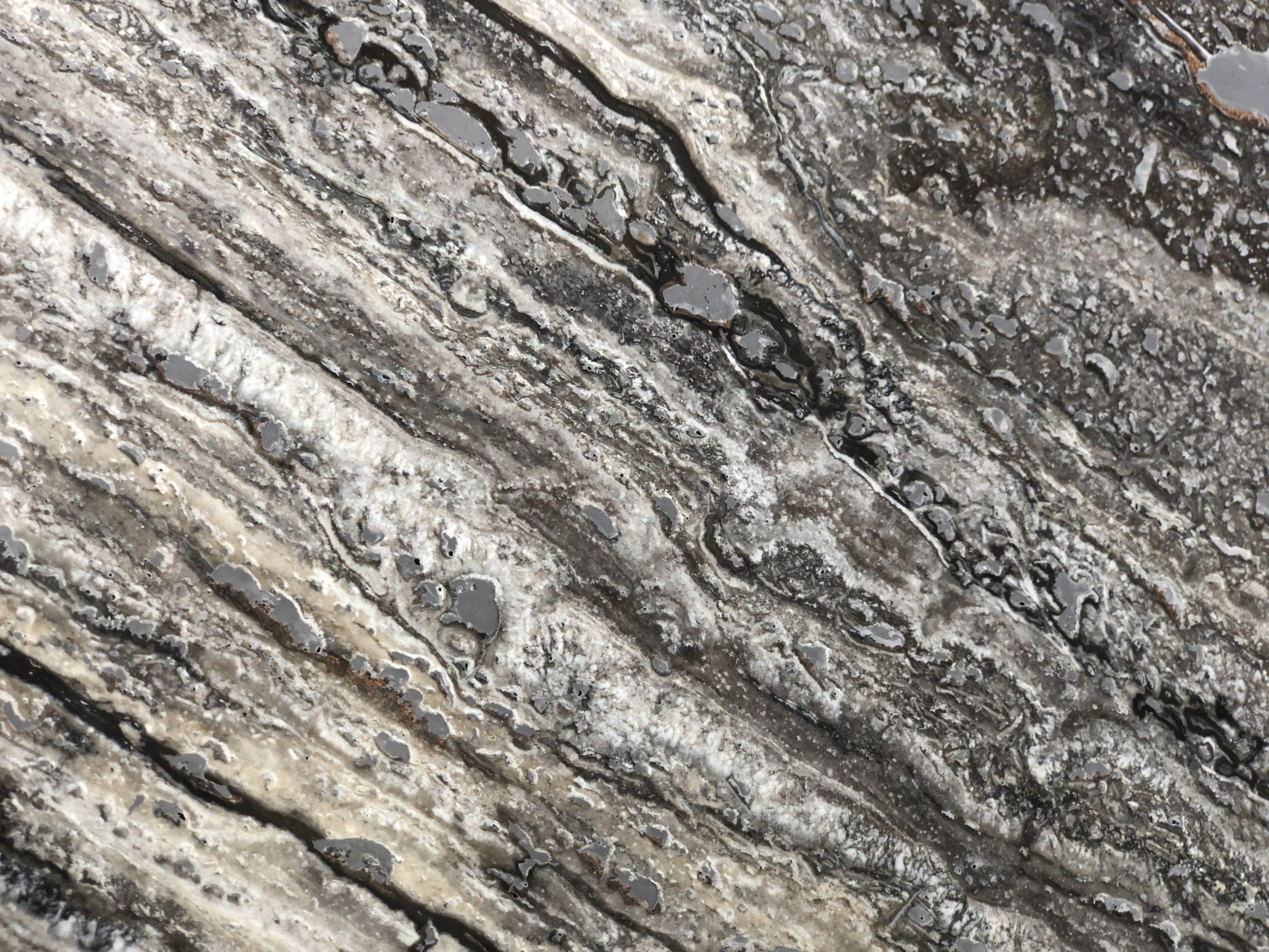 Silver Travertin vein cut